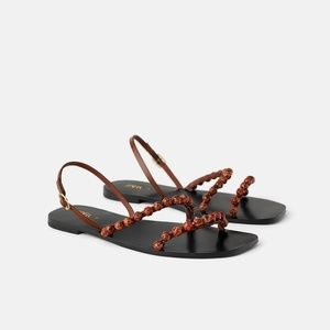NWT Zara Flat Leather Beaded Sandals